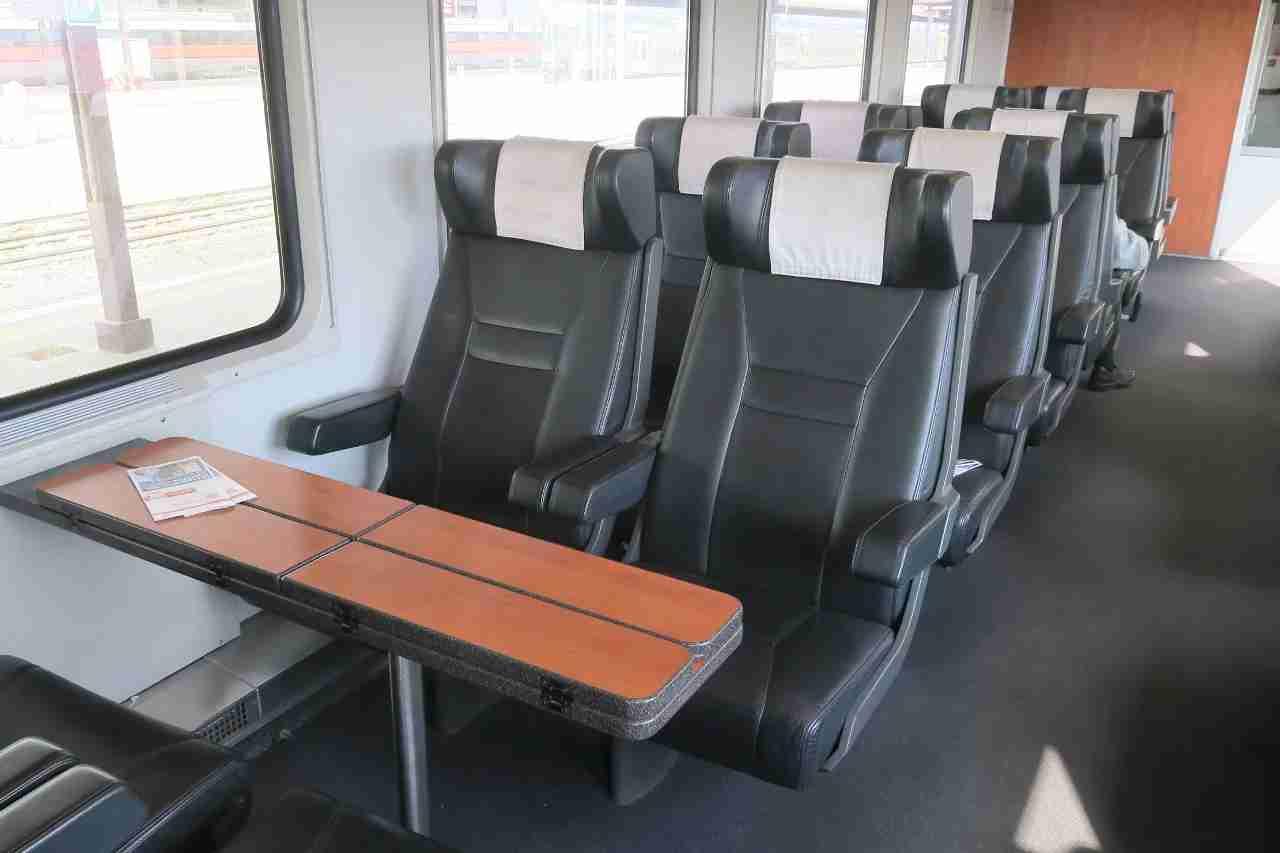First class on a EuroCity train between Munich and Bologna.