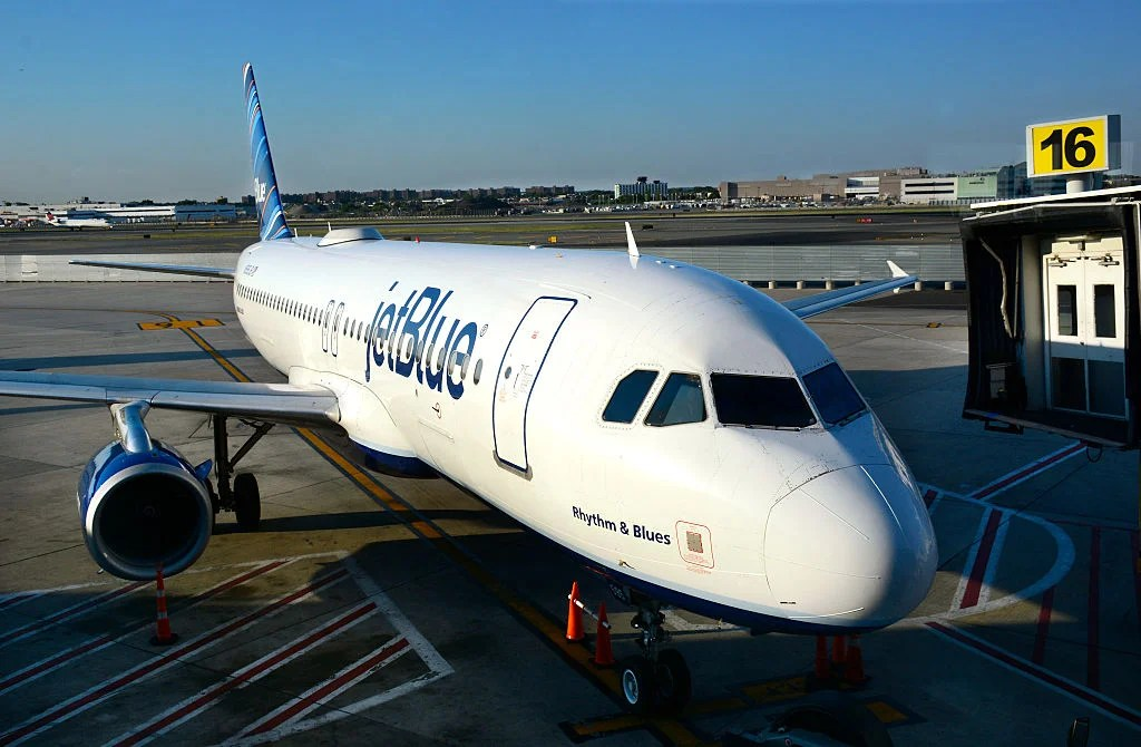 NEW YORK, NY - August 27, 2016: A JetBlue Airways passenger plane is serviced at a gate at John F. Kennedy International Airport. JFK International Airport is in the borough of Queens in New York City. (Photo by Robert Alexander/Getty Images)