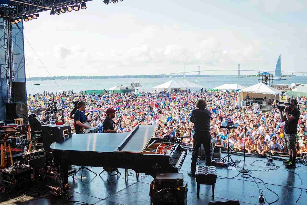 """Roy """"Futureman"""" Wooten, Bela Fleck, Victor Wooten and Howard Levy of Bela Fleck and the Flectones perform during the Newport Jazz Festival. (Photo by Douglas Mason/Getty Images)"""