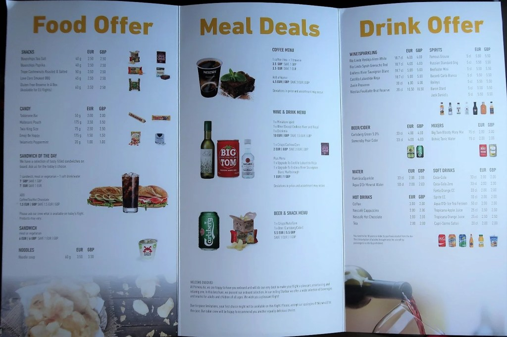 Food Beverage Pricing Although Prices Are Listed Both In Euros And Pounds All Items Were Charged Using As The Currency For This First Flight
