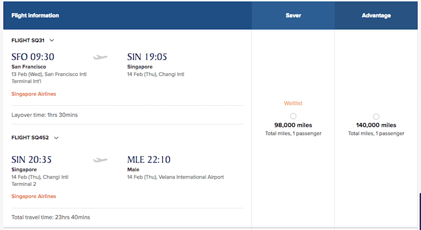 A sample business-class award on Singapore from San Francisco to Malé using KrisFlyer miles.