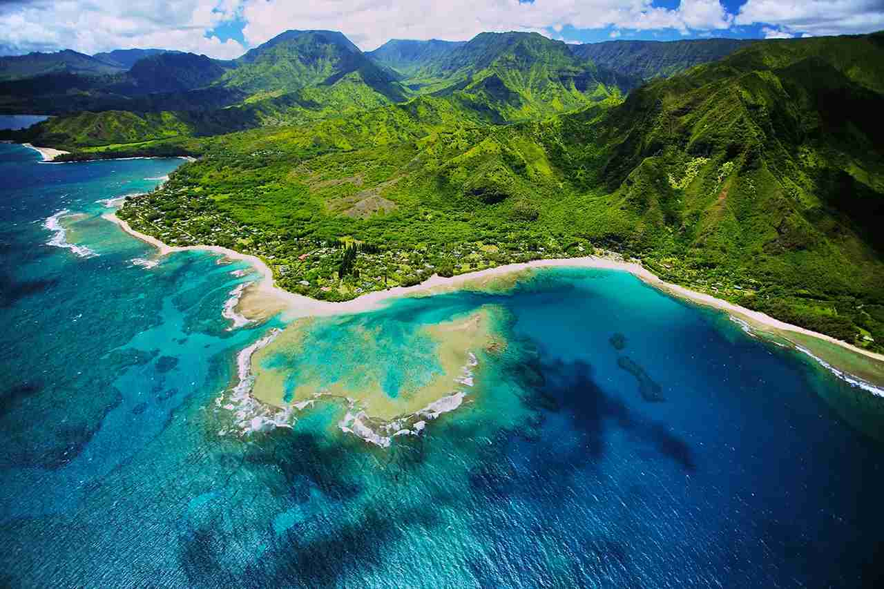 An aerial photo of Tunnels beach. Tunnels is located on Kauai