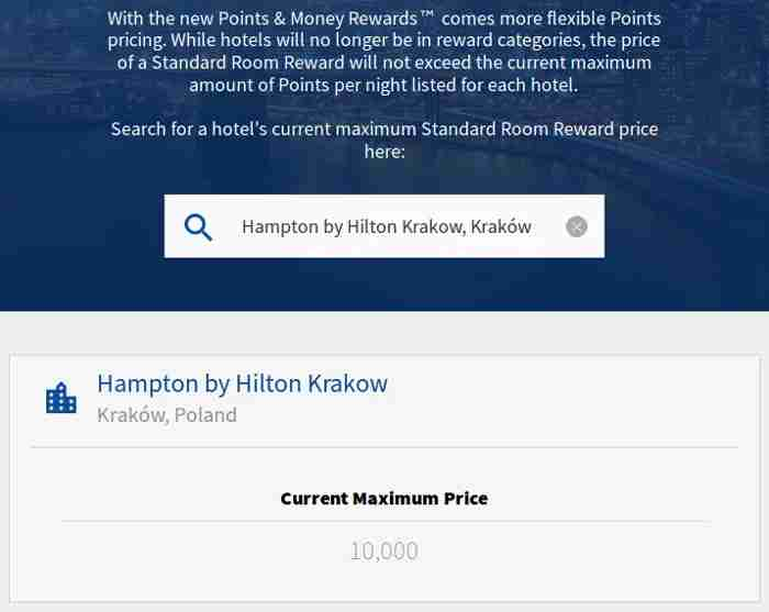 Maximum redemption rate for a specific Hilton hotel.
