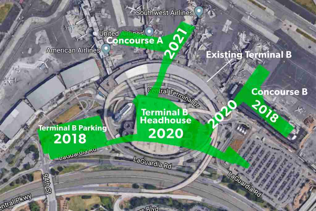 New Terminal B overlaid current satellite image. Concourse B comes online Fall 2018, with the above ground walkway complete 2020. (Photo by author, using Google Maps).