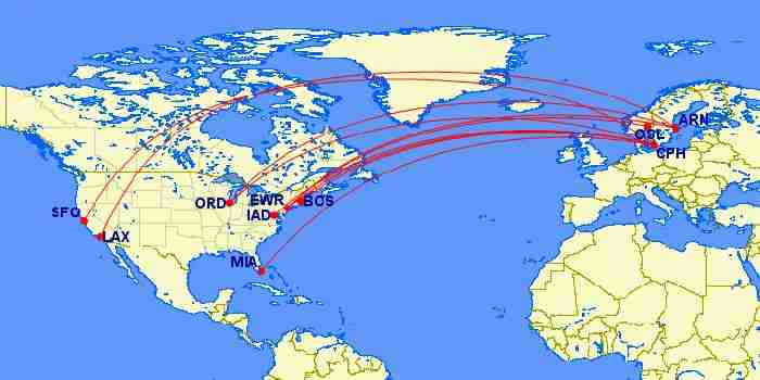 SAS routes between the US and Europe