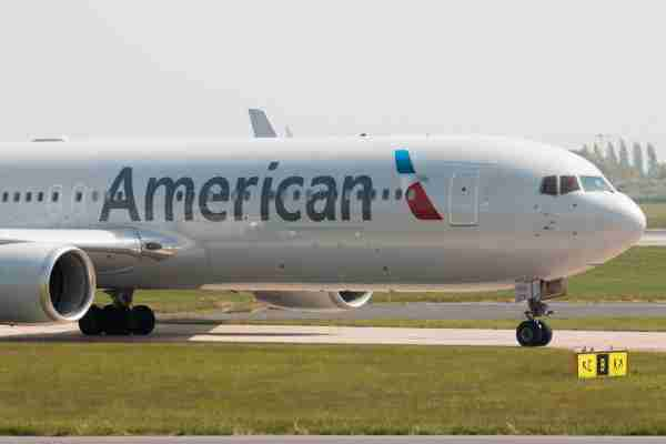 An American Airlines Boeing 767-300 wide-body passenger plane taxis at Manchester International Airport on May 11, 2017. (Photo by Juha Remes / Getty Images).