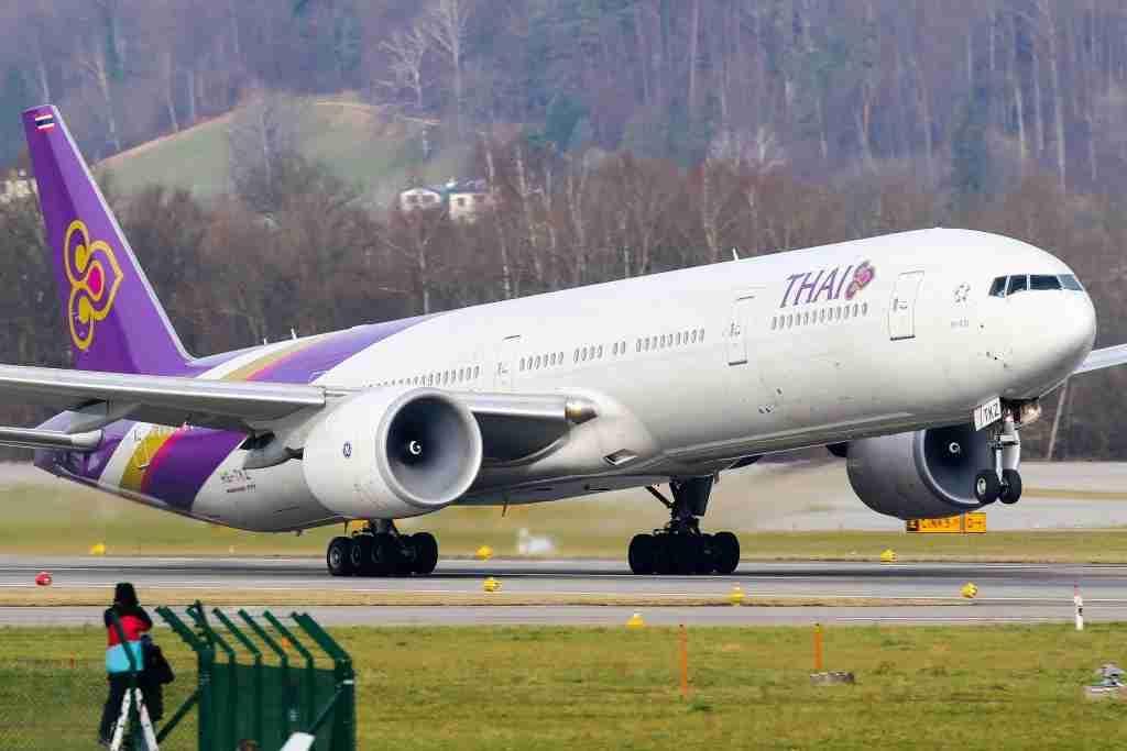 ZURICH AIRPORT, ZURICH, -, SWITZERLAND - 2018/01/25: Thai airways Boeing 777-300ER aircraft departing Zurich for Bangkok. (Photo by C. V. Grinsven/SOPA Images/LightRocket via Getty Images)