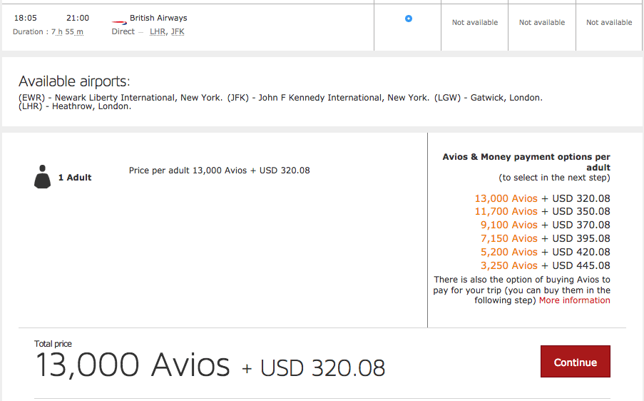 Heres A British Airways Business Class Award On The Airline Itself For 50000 Avios Plus 521 Same Route