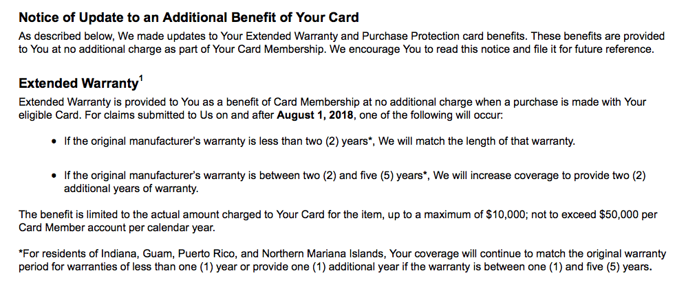 Amex Improving Extended Warranty, Purchase Protection Benefits