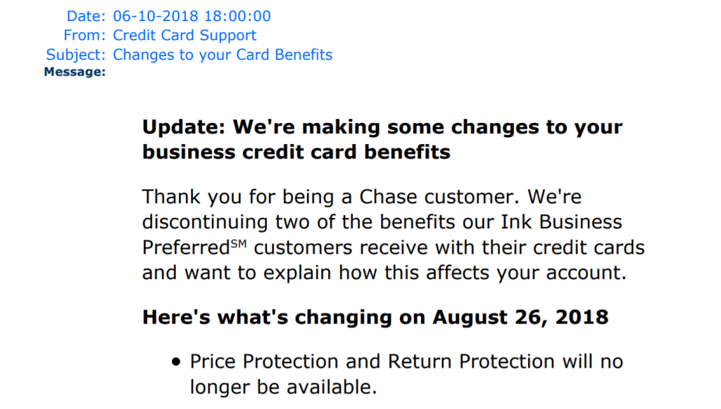 Chase Eliminates Price Protection On Yet Another Card