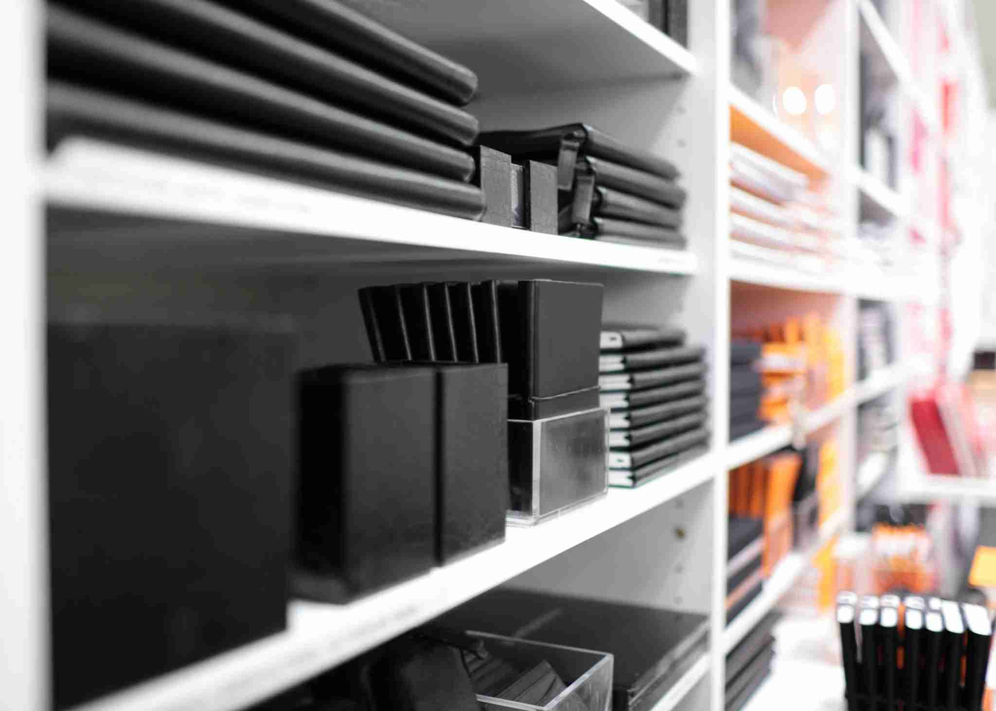 Shelves with office supplies in a shop. (Photo by -lvinst- via Getty Images)