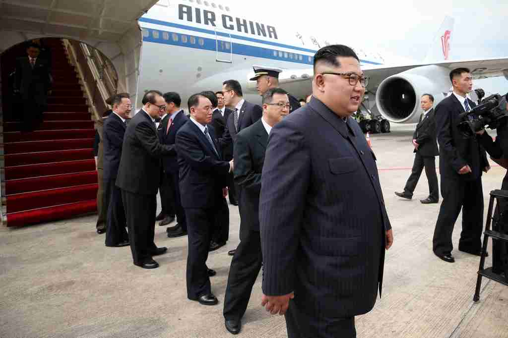 SINGAPORE, SINGAPORE - JUNE 10: In this handout provided by Ministry of Communications and Information of Singapore, North Korean leader Kim Jong-un arrives at Changi Airport in Singapore on June 10, 2018 in Singapore, Singapore. The historic meeting between U.S. President Donald Trump and North Korean leader Kim Jong-un has been scheduled in Singapore for June 12 as the world awaits for the landmark summit in the Southeast Asian city-state. (Photo by Terence Tan for Ministry of Communications and Information Singaporet/Via Getty Images)