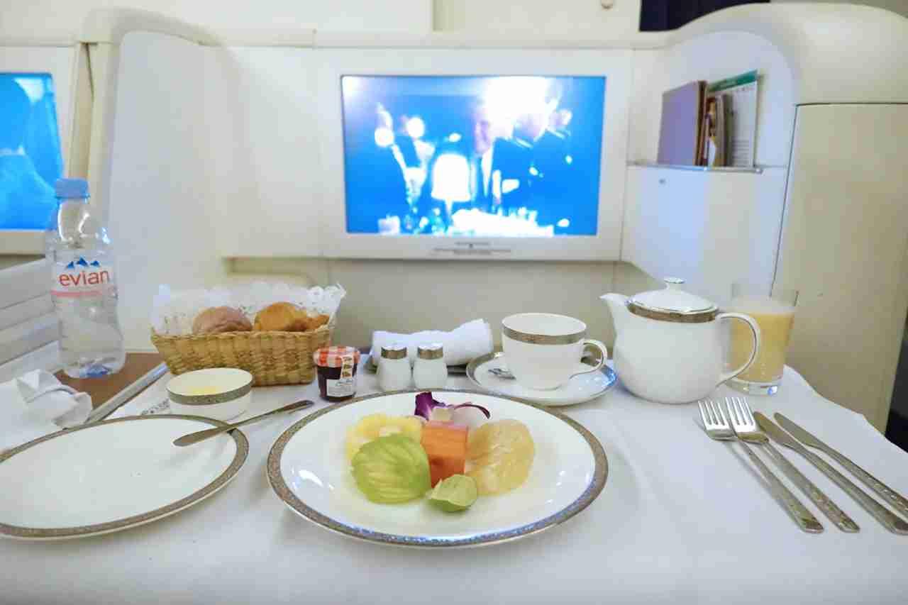 Thai — A380 First Class BKK - CDG Breakfast