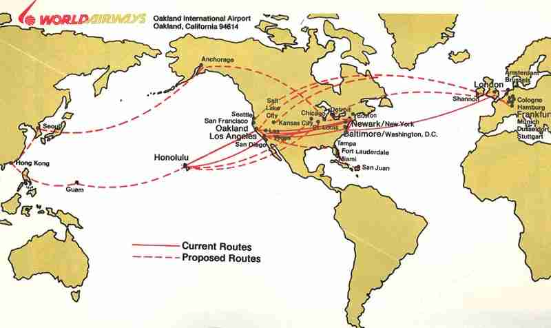 An original World Airways route map from 1986 when the Oakland, CA based airline offered a scheduled services. Image Courtesy: Chris Sloan, Airchive Collection
