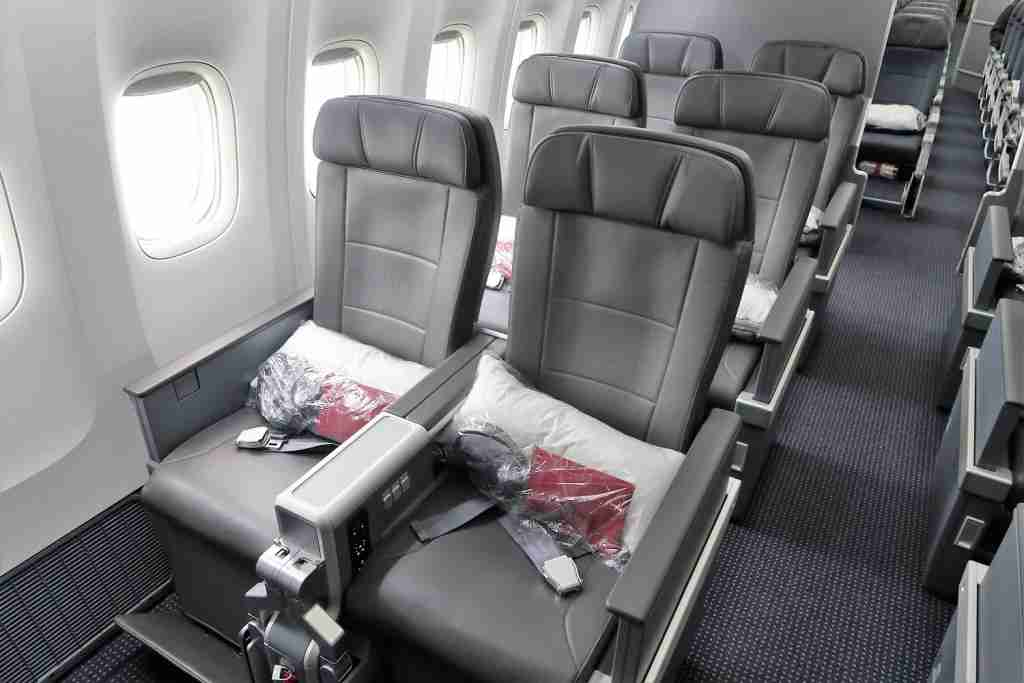 Window seats in premium economy on American Airlines