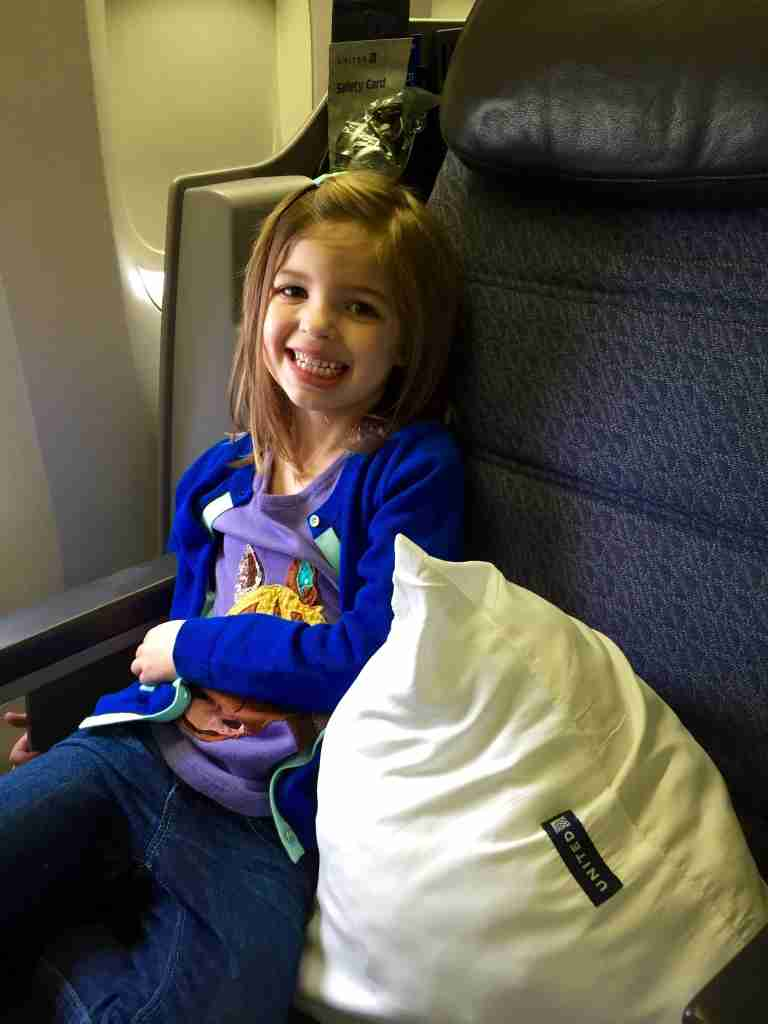 My daughter enjoying first class