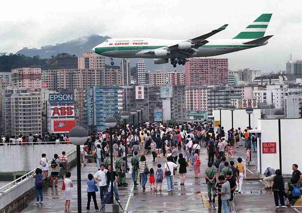 HONG KONG, CHINA: Hundreds of Hong Kong people gather onto Kai Tak Airport