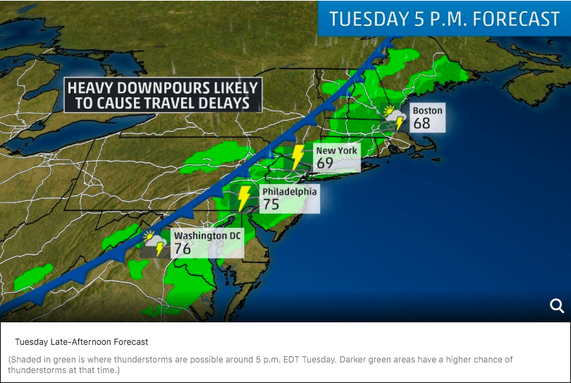 Thunderstorms in the Northeast. Image courtesy of The Weather Channel.