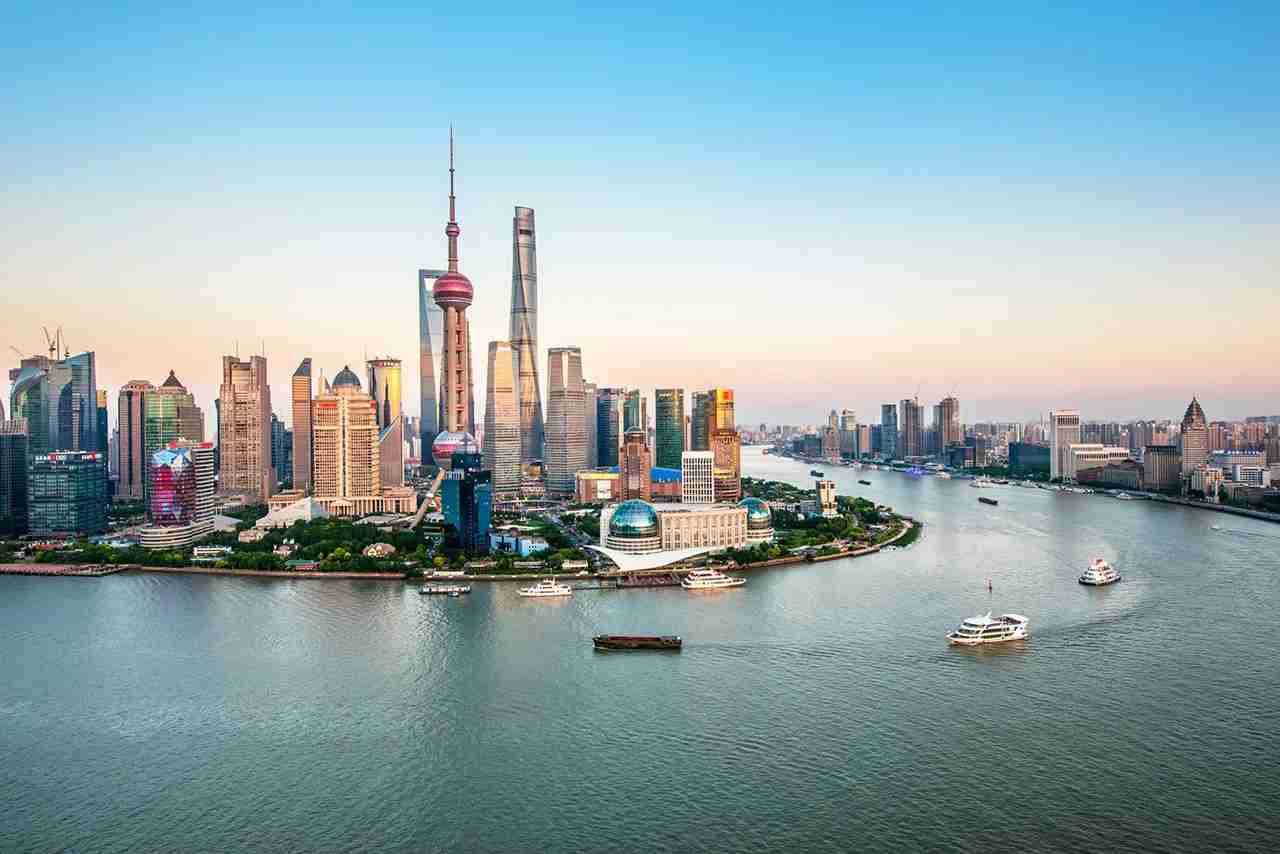 Aerial view of Lujiazui Financial District at dusk, Pudong, Shanghai, China. (Photo by Fei Yang / Getty Images)