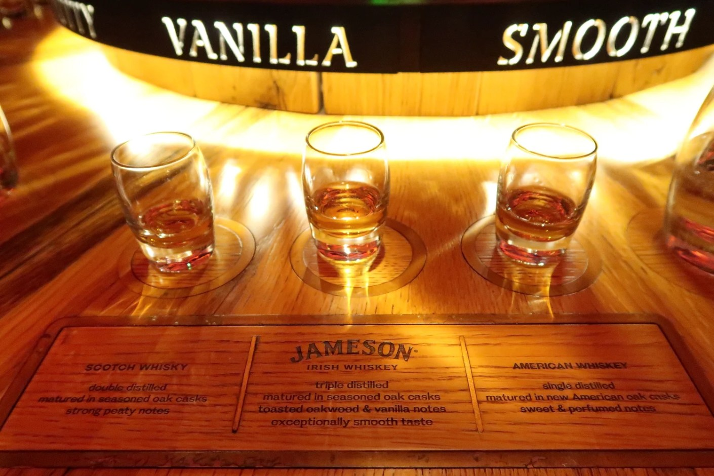 We tasted and compared three styles of whiskey during our tour.