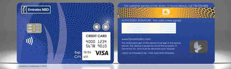 Dynamics Inc. partnered with Emirates NBD to unveil a battery-powered credit card that can instantly replace the 16 digits associated with an account. Image rights belong to Dynamics Inc.