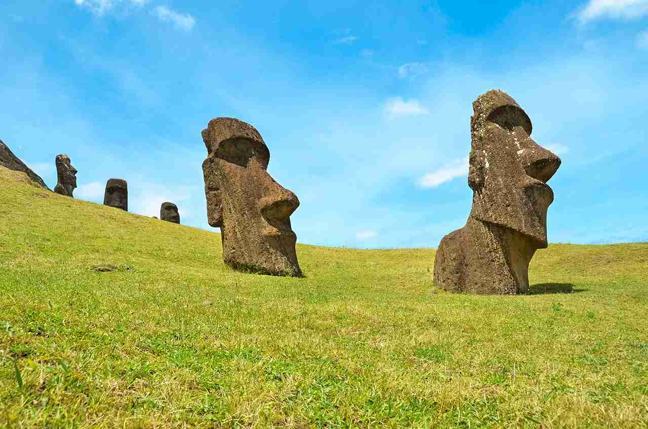 Chile, Easter Island, Moai stone heads in Rano Raraku quarry, Rapa Nui National Park. (Photo by Getty Images)
