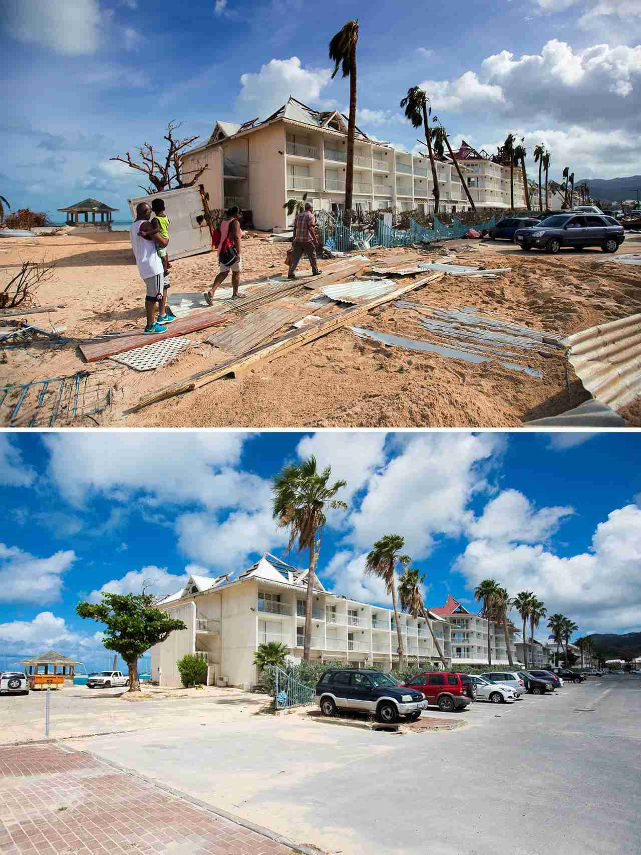People walking past damaged on a sanded street in Marigot near the Bay of Nettle on the French Caribbean island of Saint-Martin on September 7, 2017, after the passage of Hurricane Irma, and (down) the parking cleared of debris next to building still damaged on February 28, 2018. (LIONEL CHAMOISEAU/AFP/Getty Images)