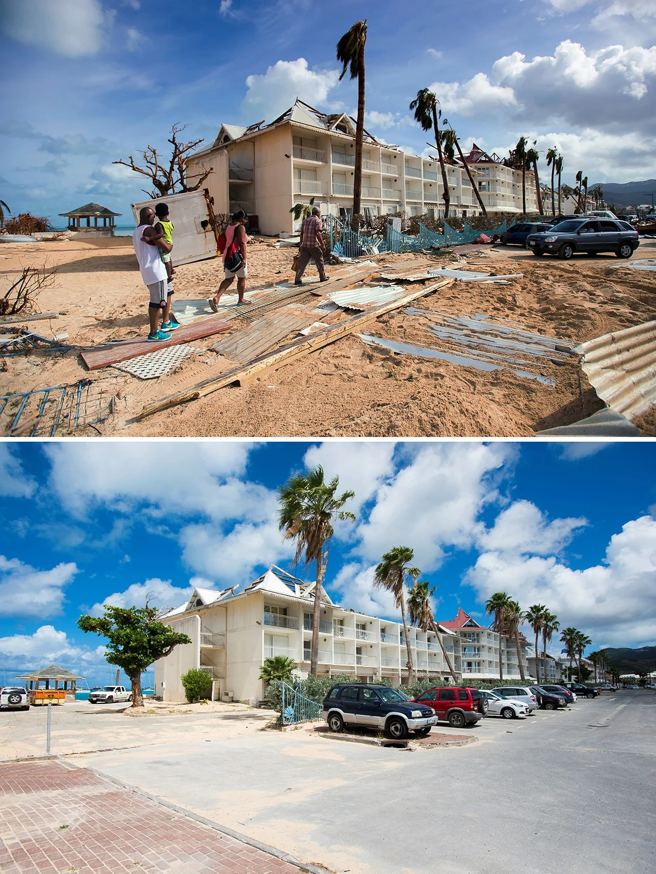People Walking Past Damaged On A Sanded Street In Marigot