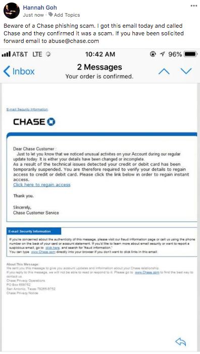 Beware: Phishing Email Targets Chase Customers