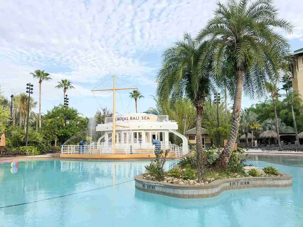 Pool at Loews Royal Pacific - get free Express Unlimited Passes