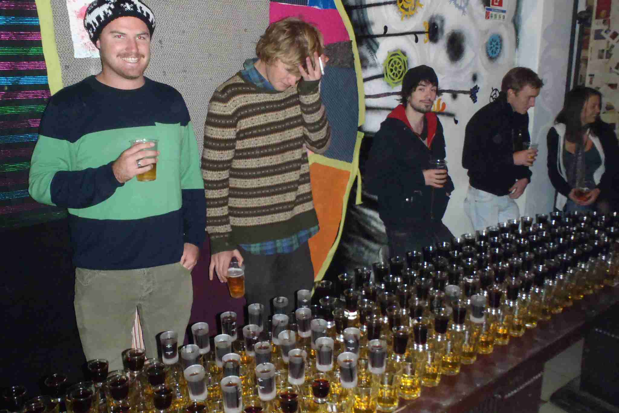 Have your fun, but keep it reasonable. Photo of a Jager bomb train in Budapest from a previous phase of my life.