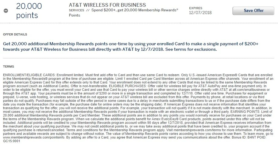 Amex Offer: $200 Back or 20,000K Points on AT&T Business
