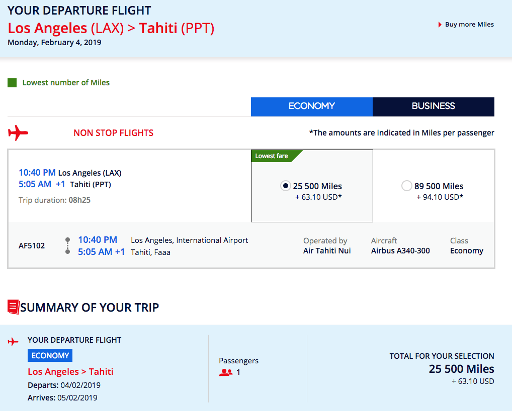One-way coach fares on Air Tahiti Nui are pretty reasonable, and Flying Blue miles are easy to earn