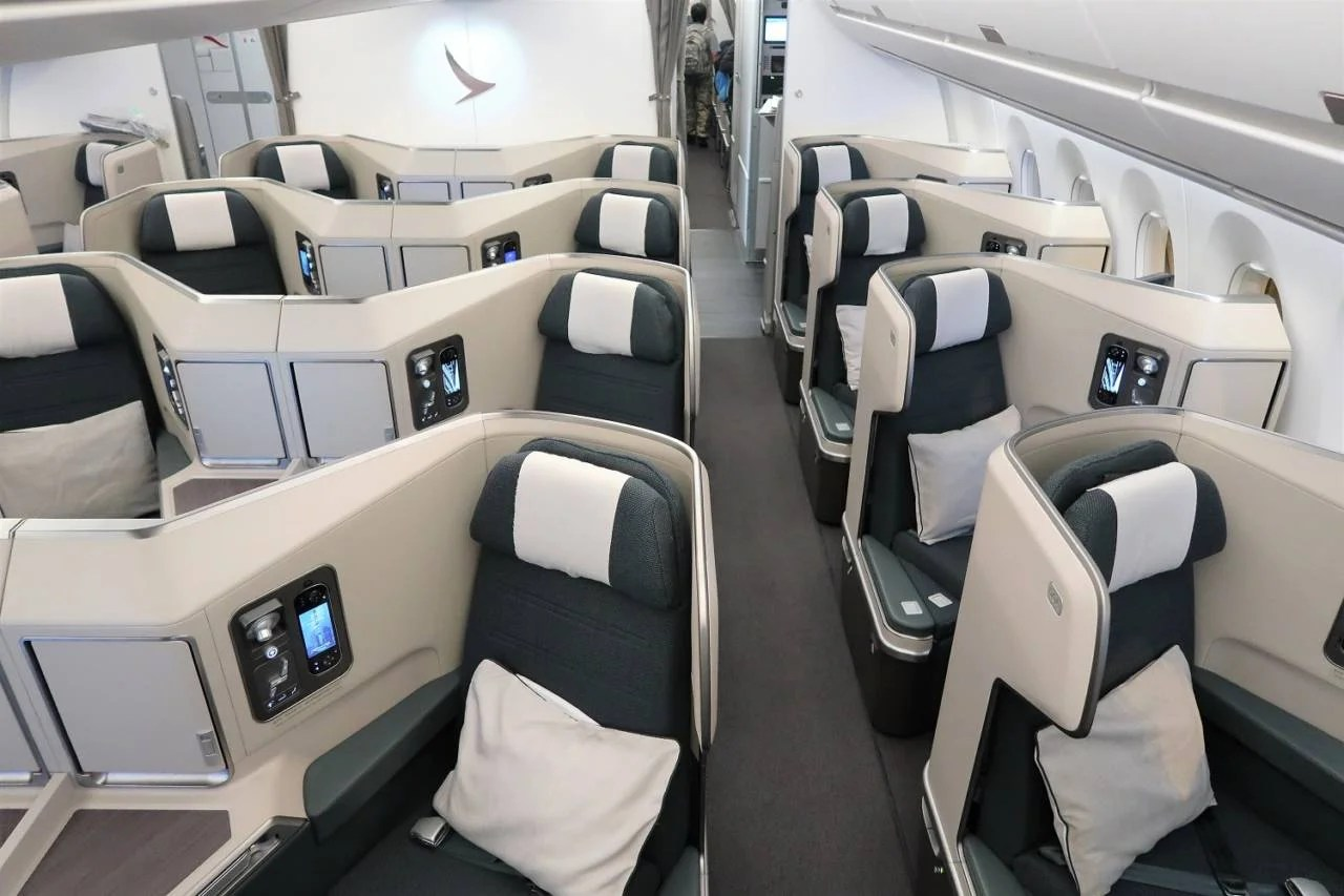 The Cathay Pacific A350-1000 business class cabin. (Photo by JT Genter / The Points Guy)