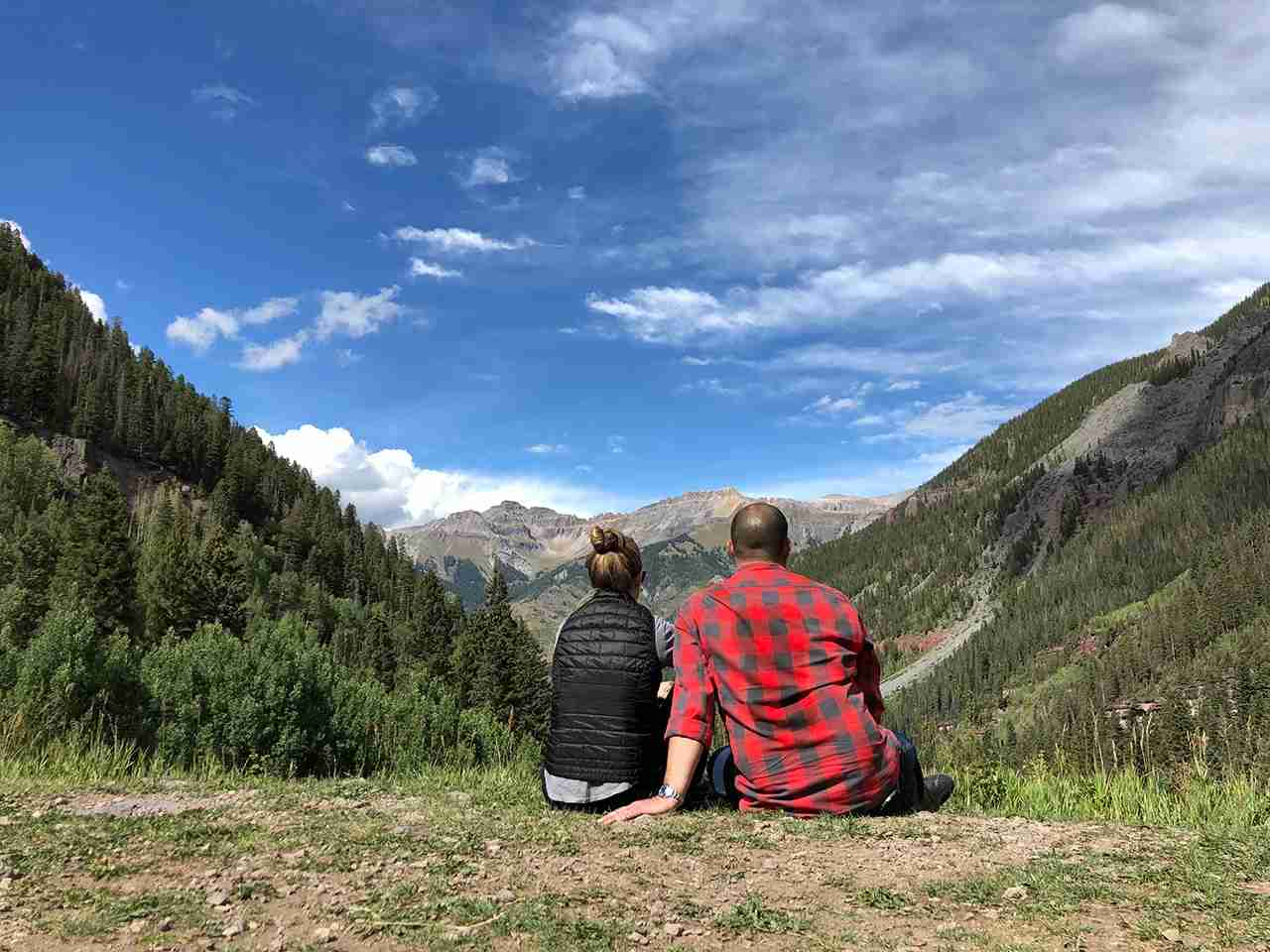 Enjoying a tenth anniversary hike in Telluride