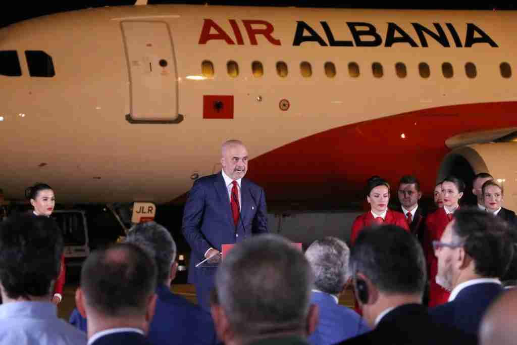 TIRANA, ALBANIA - SEPTEMBER 14: Albanian Prime Minister Edi Rama (C) makes a speech during the opening ceremony of the newly established Air Albania at the Tirana International Airport Nene Tereza, in Tirana, Albania on September 14, 2018. Turkey