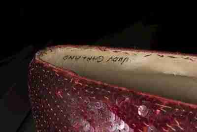 Dorothy herself signed the inside of the recovered slippers (Photo courtesy of www.fbi.gov)
