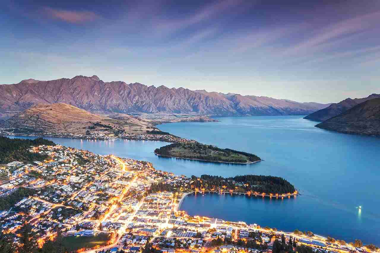 View over Queenstown from the Gondola, with Lake Wakatipu and the Remarkables, Queenstown, Otago, South Island, New Zealand, Oceania. (Photo by Matteo Colombo/Getty Images)