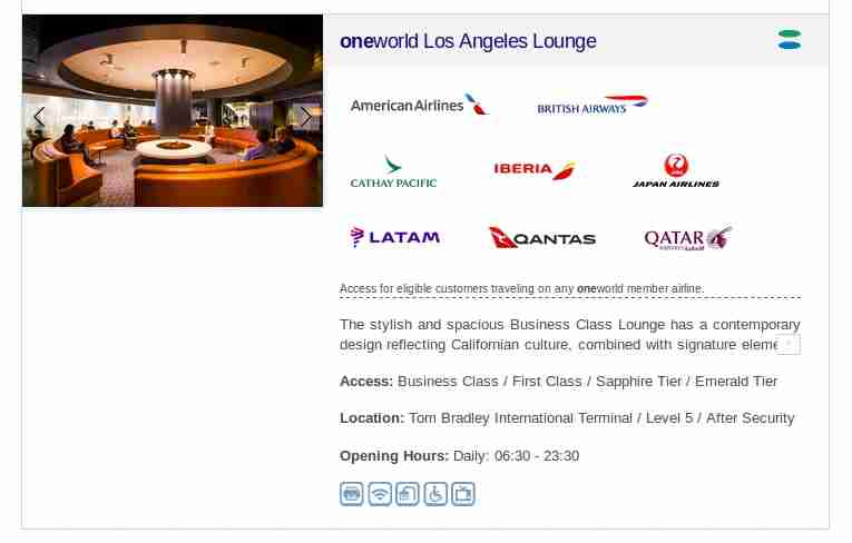 Information from the Oneworld lounges website.