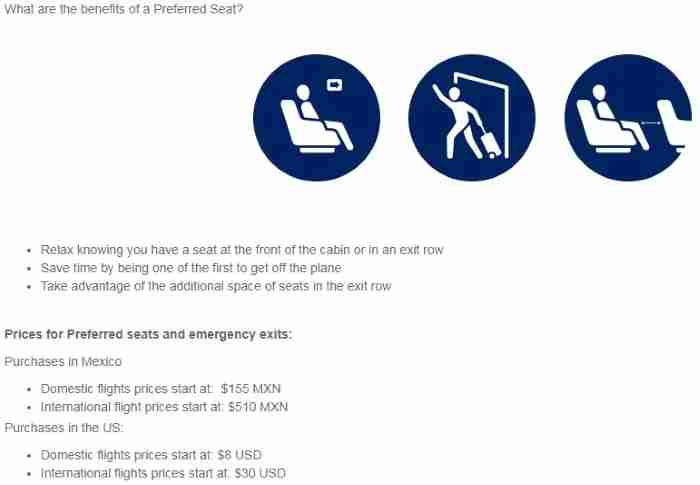 Aeromexico uses a more standard definition of preferred seats.