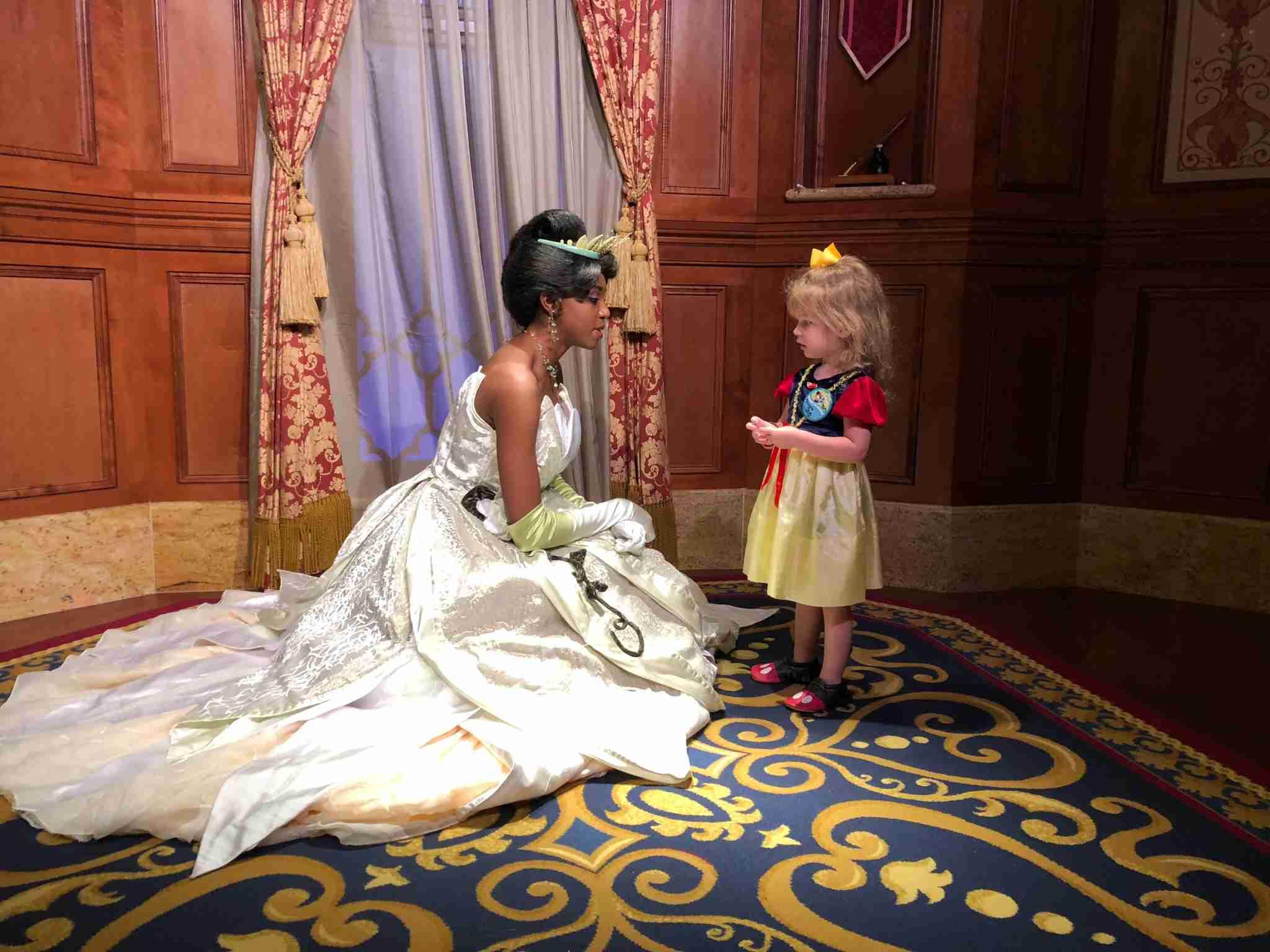 Meeting with Princess Tiana in Magic Kingdom
