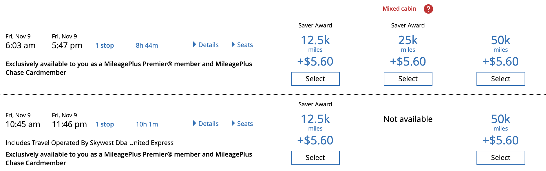 United credit card holders and elite status members get better award availability.