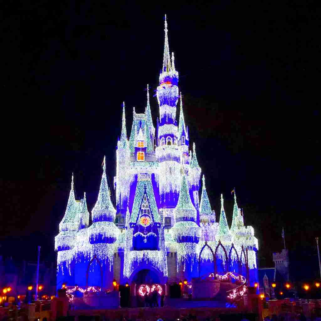 Cinderella Castle lit up at Disney World