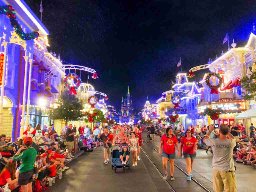 Main Street USA with Christmas Decor