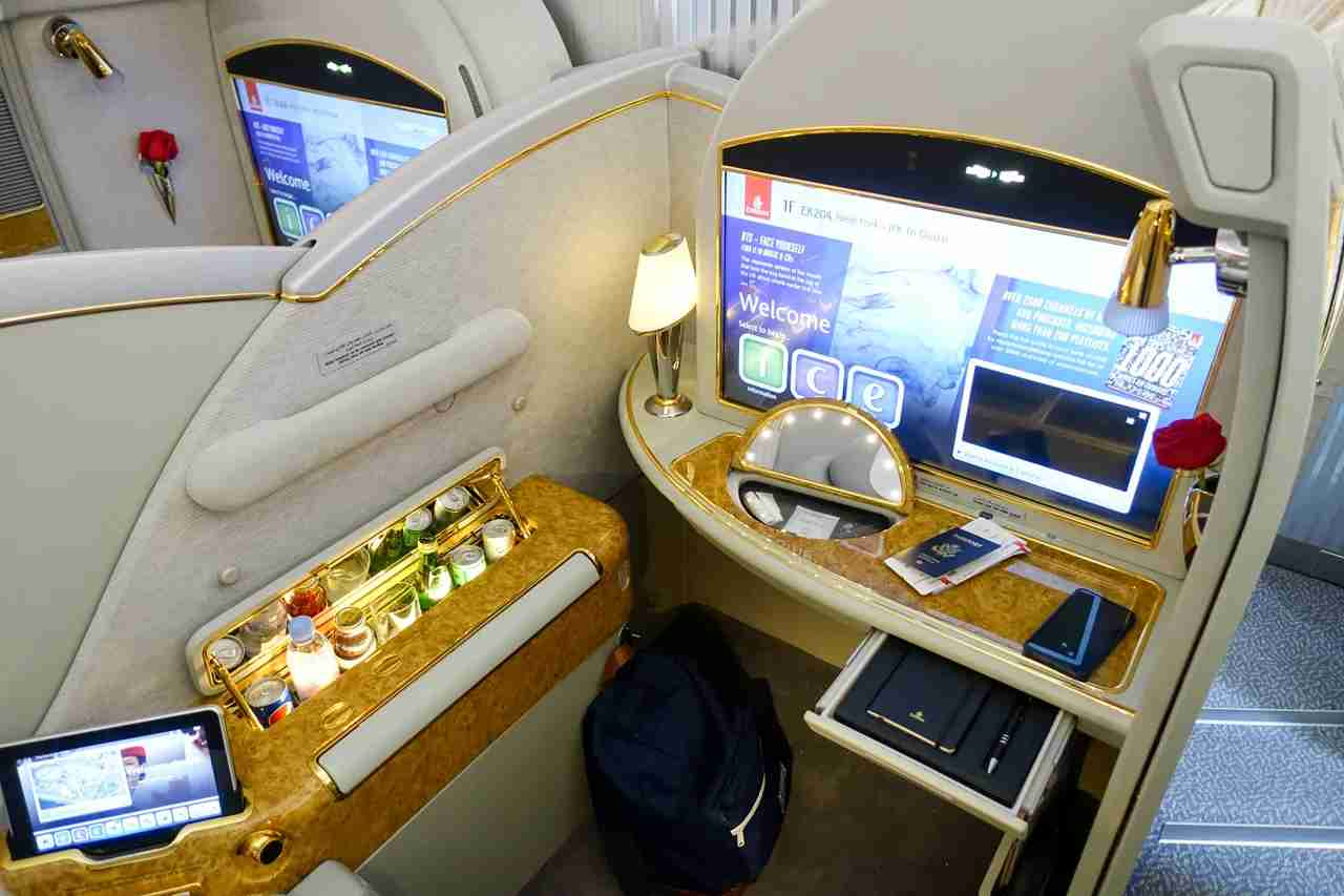 Emirates A380 First Class. Photo by Brian Kelly / The Points Guy