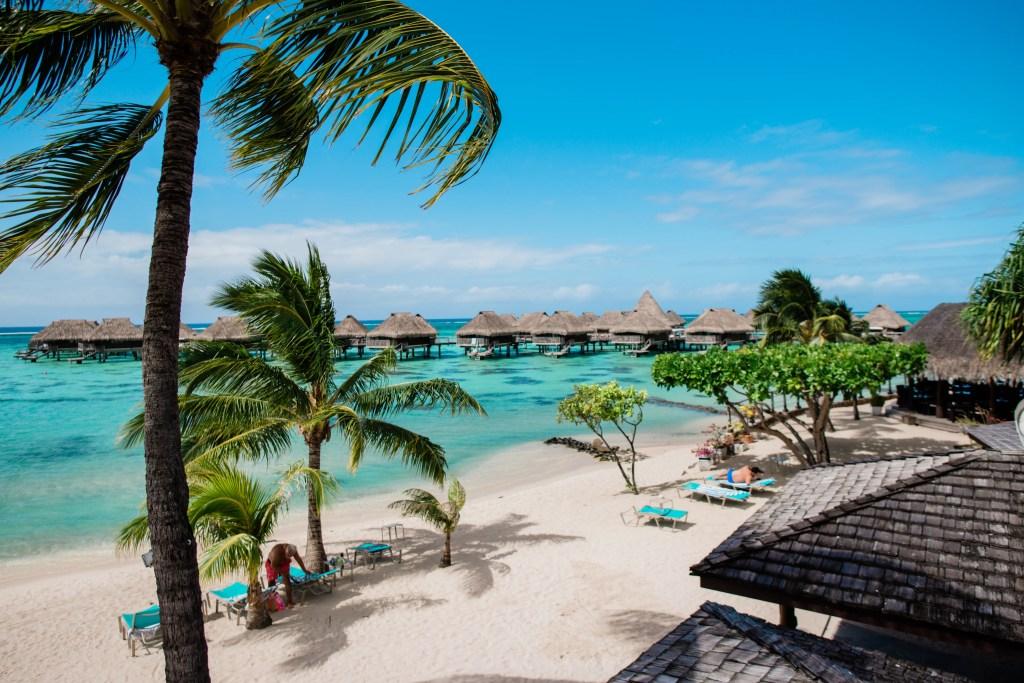 Hilton Moorea Lagoon Resort and Spa - beach view from restaurant