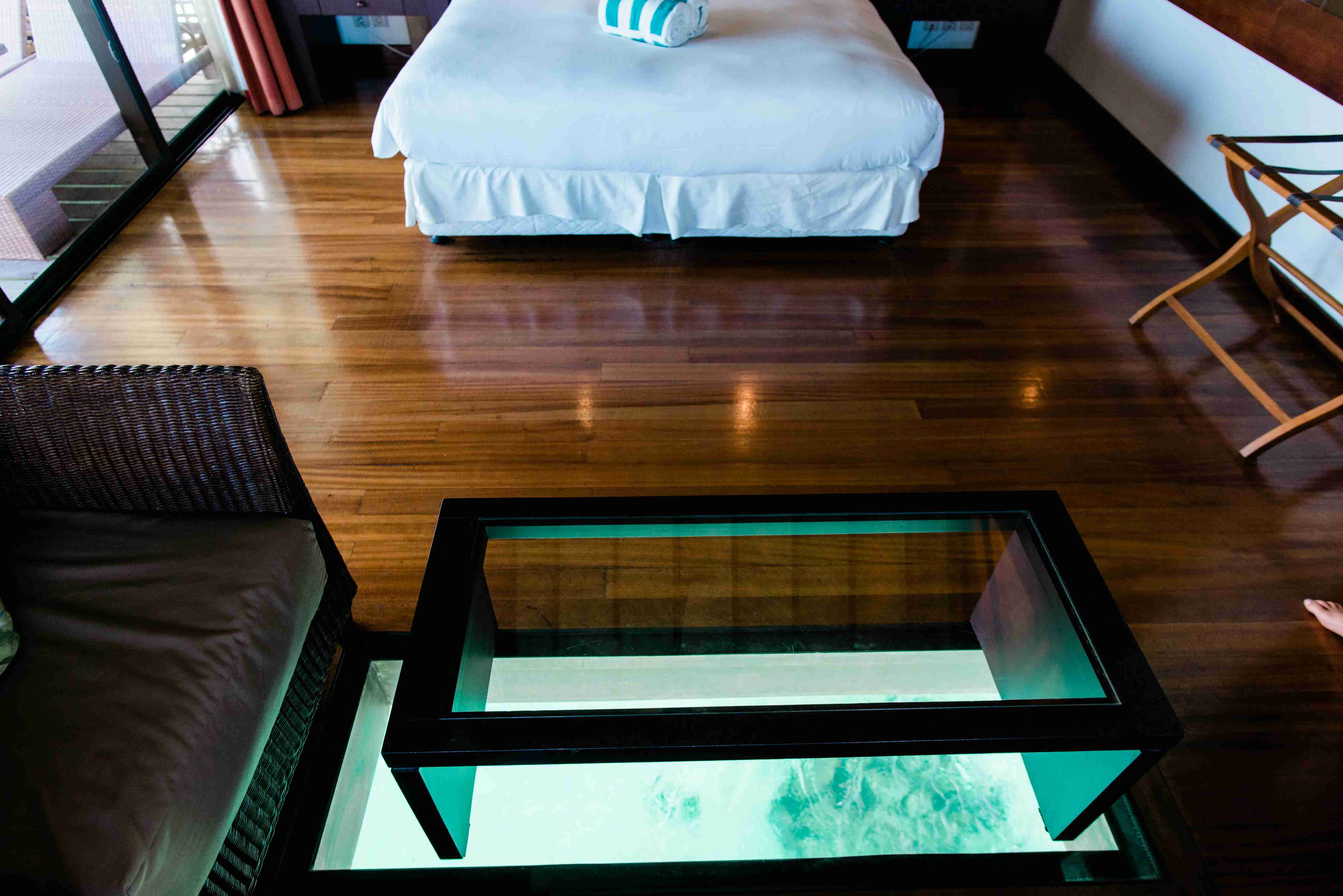 Hilton Moorea Lagoon Resort and Spa - overwater bungalow see through clear floor