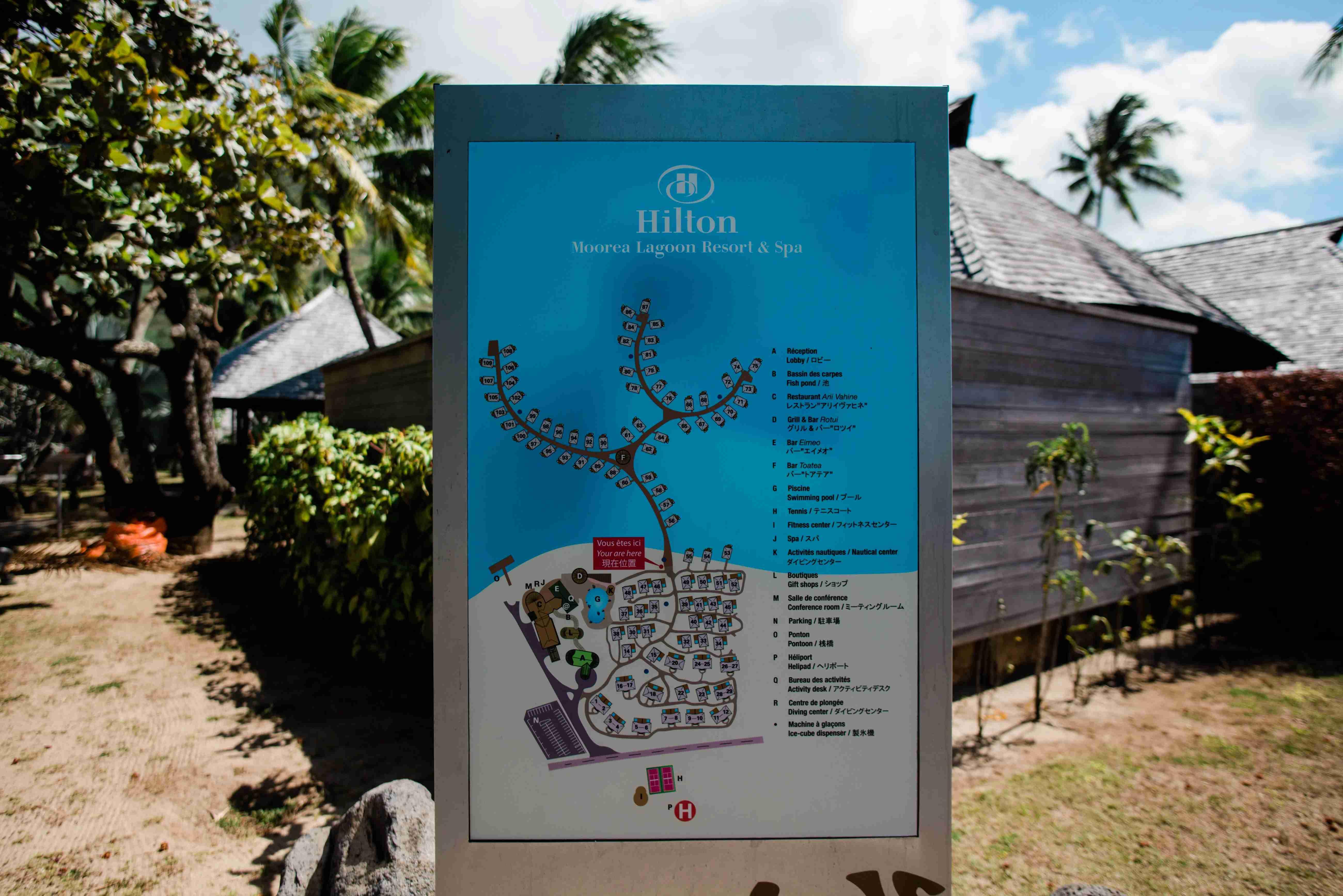 Hilton Moorea Lagoon Resort and Spa - resort map