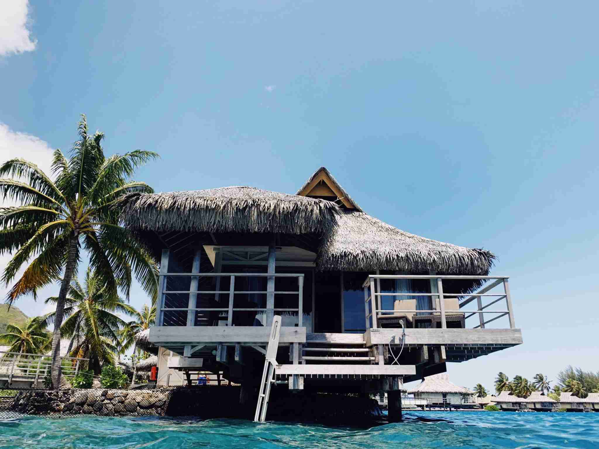 InterContinental Resort and Spa Moorea - overwater bungalow rear porch from water