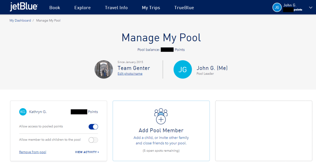 Manage JetBlue Pool